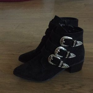 Black booties with buckles